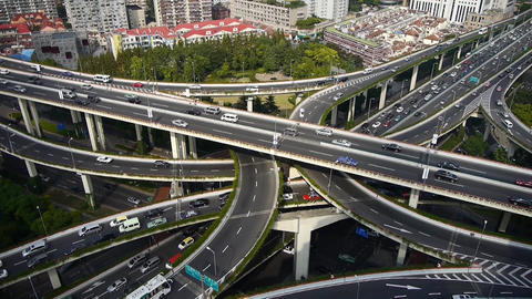 Aerial View of freeway busy city rush hour heavy traffic jam highway Animation