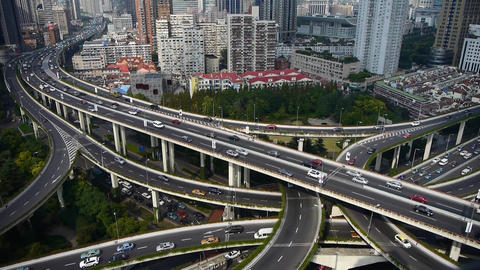 heavy traffic on highway interchange,Aerial View of Shanghai building Skyline Animation