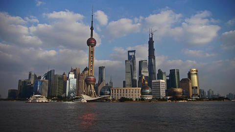 Shanghai skyline,world economic Centre & urban building,shipping on river Animation