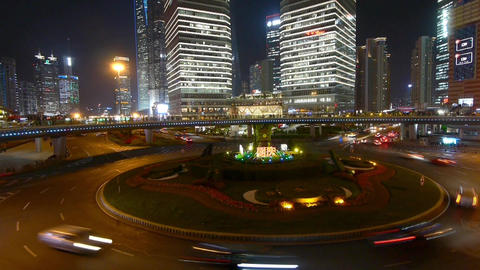 time lapse,urban traffic at night,Brightly lit shanghai pudong building Animation