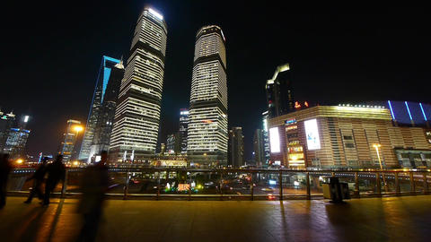 timelapse,urban traffic & people sketch at night,Brightly lit modern buildin Animation