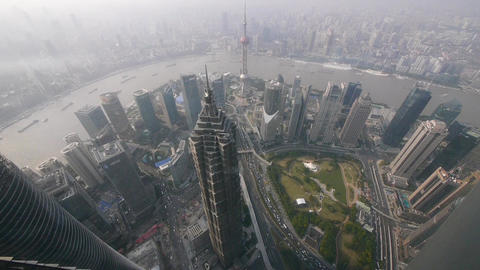 aerial view of high-rise buildings with river in Shanghai,China Animation