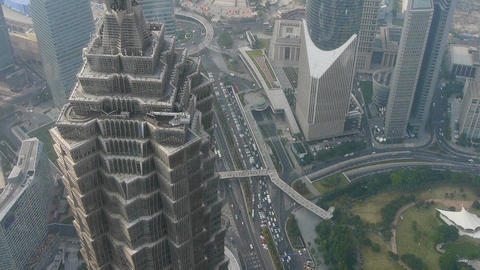 time lapse,aerial view of high-rise buildings in Shanghai,China,urban traffic Animation