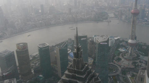 aerial view of high-rise buildings with river in Shanghai,China,serious haze Animation