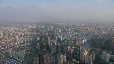 aerial view of high-rise buildings in Shanghai,China,time lapse Animation