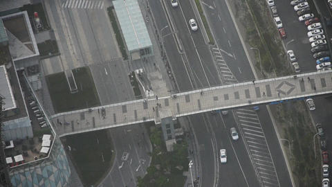 time lapse,aerial view of urban traffic & busy pedestrian in Shanghai,China Animation