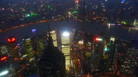aerial view of high-rise buildings with river in Shanghai at night,China Animation