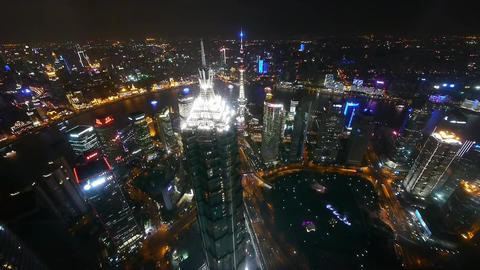 aerial view of skyscraper with river in Shanghai at night,China,time lapse Animation