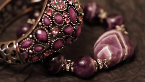 Jewelry Bracelets And Necklaces On The Table stock footage