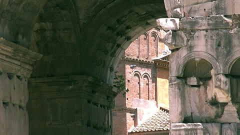 The Arch Of Janus Near The Forum Boarium In Rome stock footage