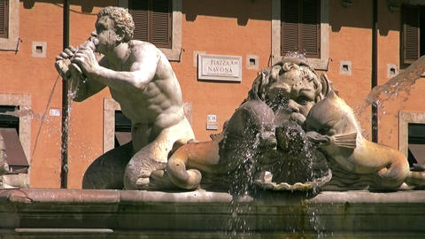 Tourist pass by at the famous Piazza Navona in Rome, Italy Footage