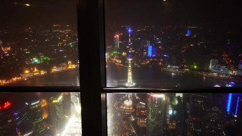 aerial view of Shanghai night-scene from huanqiu sightseeing hall Animation