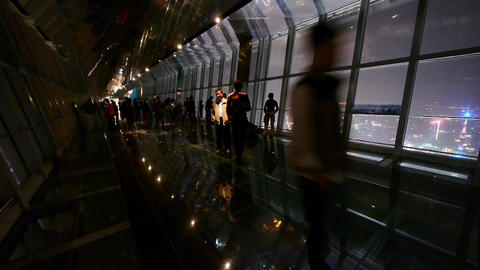 people silhouette in huanqiu sightseeing hall,aerial view of urban night-scene Animation