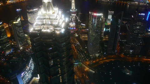 aerial view of skyscraper rooftop crown with river at night,time lapse Animation