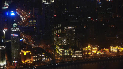 aerial view of highrise buildings with river at night,shipping & urban traff Animation