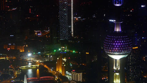 aerial view of shanghai Oriental Pearl Tower at night,urban traffic & shippi Animation