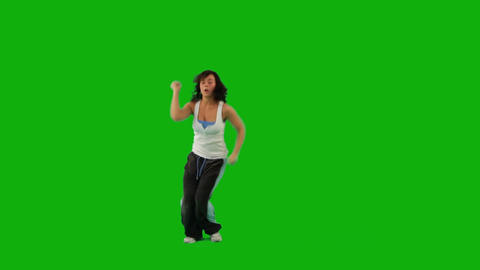 Girl Dancing Hip-Hop. Green Screen stock footage