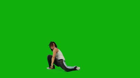 Girl Dancing Hip-Hop. Green Screen Footage