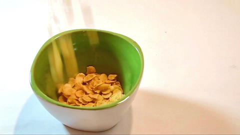 Bowl With Cornflakes stock footage
