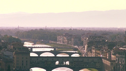 The Ponte Vecchio and skyline of Florence, Italy Footage