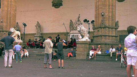 Tourists visiting Palazzo Vecchio in Florence Footage