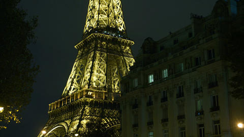 Eiffel Tower in Paris night lights ,time lapse vie Footage