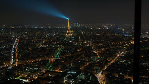 Eiffel Tower in Paris night lights view from rooft Footage