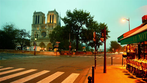 morning hour in Paris,view of the Notre Dame Footage