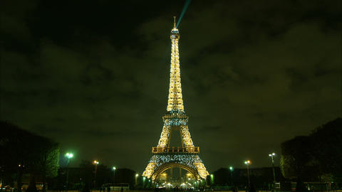 Amazing Eiffel Tower and Champ de Mars by night, t Footage