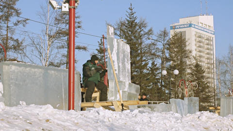 Krasnoyarsk Snow Festival 02 stock footage