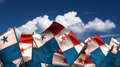 Waving Panamanian Flags Animation