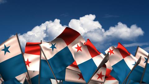 Waving Panamanian Flags Animation