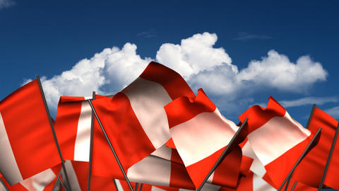 Waving Peruvian Flags Animation