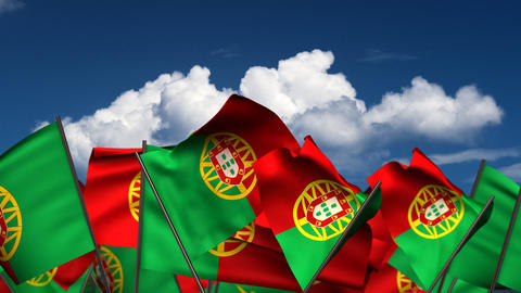 Waving Portuguese Flags Animation