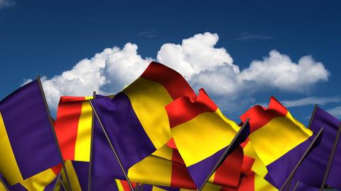 Waving Romanian Flags Animation