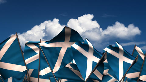 Waving Scottish Flags Animation