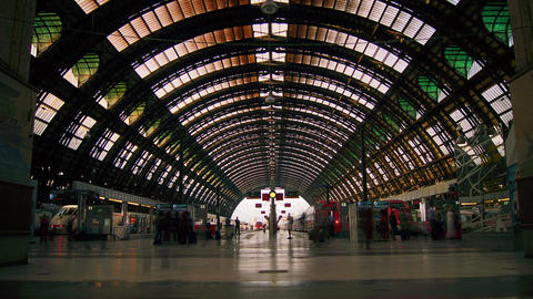People Walking In Central Station Of Milan, Time L stock footage