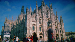 Tourists walk near Milan Cathedral Footage