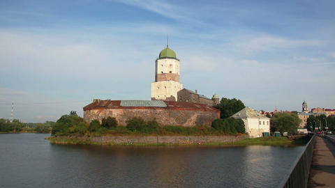Old Sweden Castle On Island In Vyborg Russia stock footage
