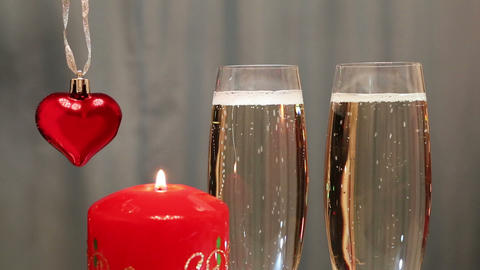 valentines day - glasses with champagne with heart Footage
