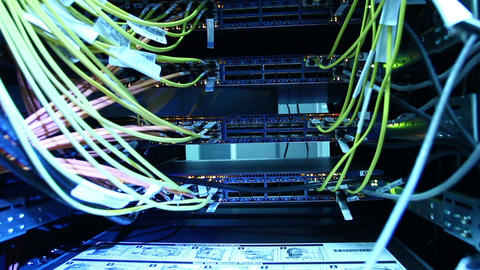 Cables and connections on network server Footage