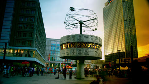World Clock In Alexanderplatz,Time Lapse,4k To Mul stock footage