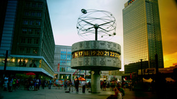 world clock in Alexanderplatz,Time lapse,4k to mul Live Action