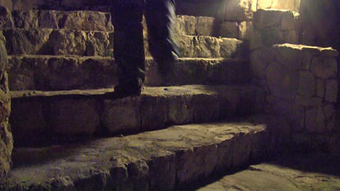 Man walking up at stairs Footage