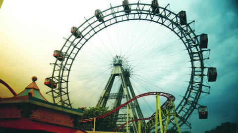 Attractions in Prater amusement park Footage