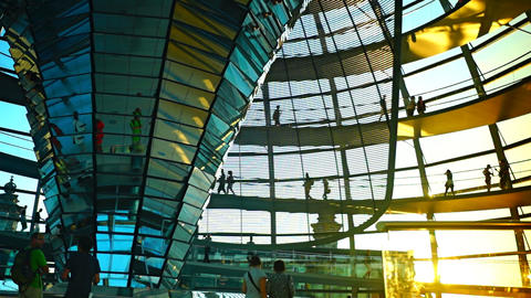 People move inside the Cupola of the Reichstag Footage