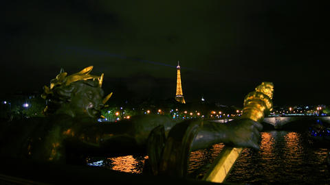 Eiffel Tower In Paris Capital, Nymphs Of The Seine stock footage