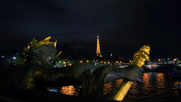 Eiffel Tower in Paris Capital, Nymphs of the Seine Footage
