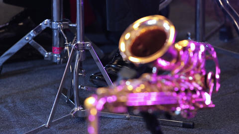 Musicians And Instruments Close Up stock footage