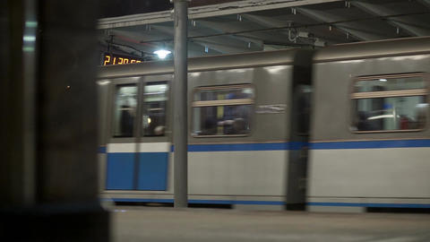 Trains at metro station in Moscow Footage